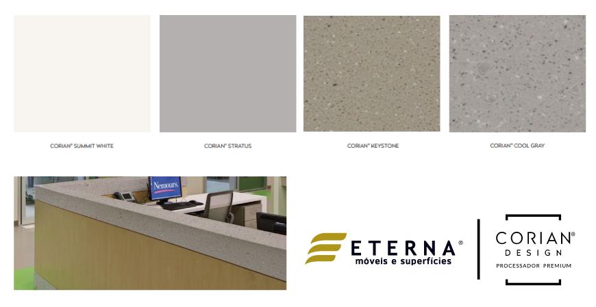 Paleta regional de cores Corian® Solid Surface.
